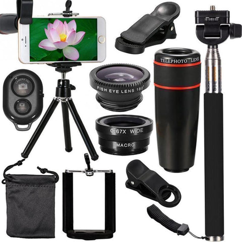 Turn Your Cell Phone Into A High-end Photo Studio With This Pro Lens Kit Including HD ZOOM 360, PLUS a FishEye Lens, PLUS a WIDE Angle Lens + You Get A TRIPOD & BLUETOOTH Remote + FREE Shipping Too!