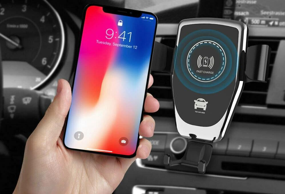 Wireless Car Charger For iPhone XS, Max X, 8, and SAMSUNG. Qi Charger Delivers Supers Fast Wireless Charging.