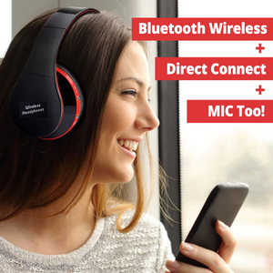 Noise Cancelling Bluetooth Wireless Headphones with Mic! Comfortable, Perfect For Music, Phone, Online Chat & Gaming... Foldable! Superb Sound Quality!