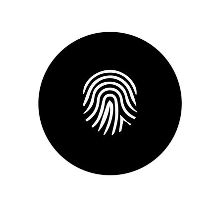 This about image is a black round icon with a white outlined fingerprint.