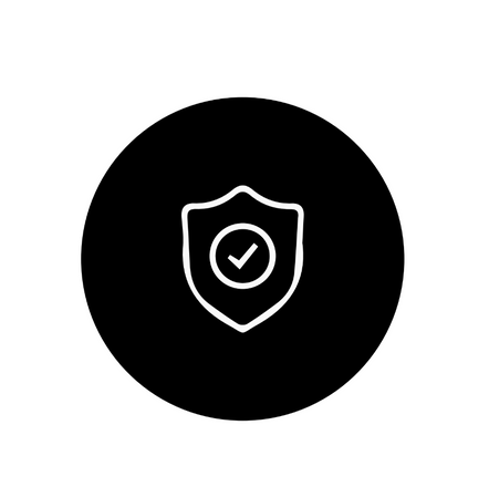 This about image is a black round icon with a white outlined safety badge and in the center is a checkmark.