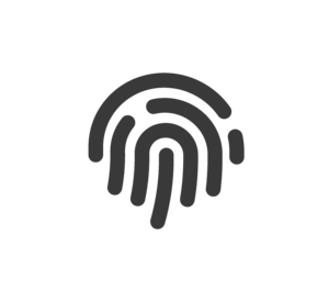 An icon of a transparent and black outlined fingerprint, to indicate the Reach Holster Safe's biometric scanner and 10 fingerprint registration.