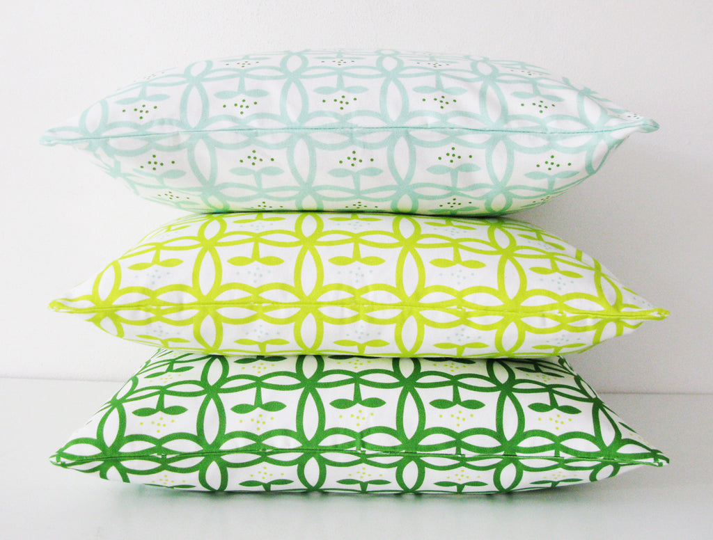 Appelbloom small in Green, Lime and Mint - pillowcase 48x48
