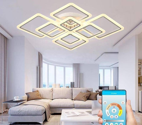 Remote Controlled LED Chandelier Lighting Square Style