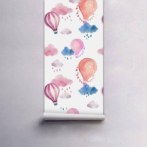 Balloon & Rainy Cloud Styled Peel & Stick Wallpaper