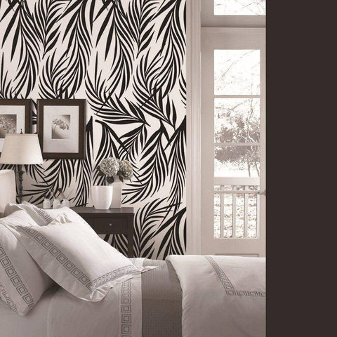Image of Black Leafy Styled Peel & Stick Wallpaper