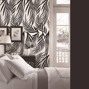 Black Leafy Styled Peel & Stick Wallpaper