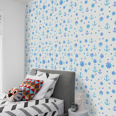 Image of Blue Caribbean Styled Peel & Stick Wallpaper