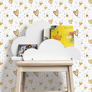 Golden Heart Styled Peel & Stick Wallpaper