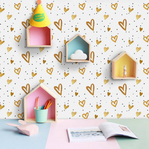 Image of Golden Heart Styled Peel & Stick Wallpaper