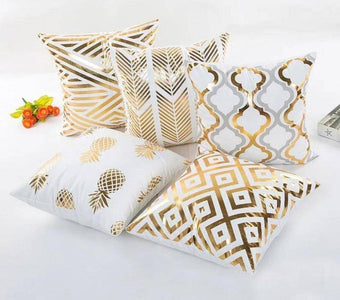 Golden Linen Styled Patterned Cushion Pillow Covers