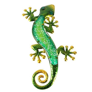 Green Gecko Metal & Glass Statue