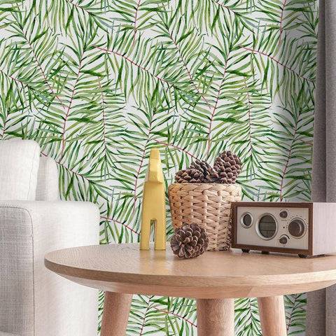 Image of Green Leafy Styled Peel & Stick Wallpaper