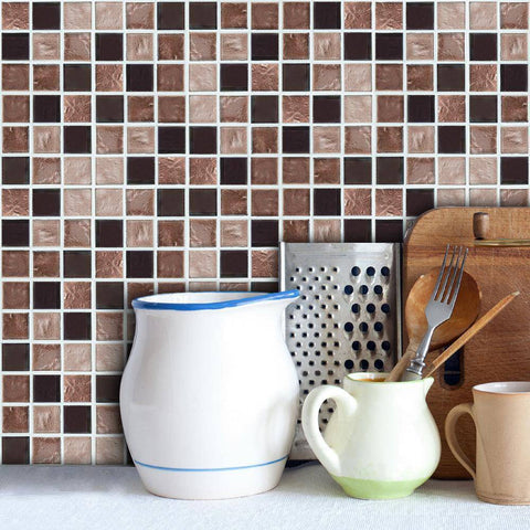 Mosaic Brown Mixed Styled Peel & Stick Tile