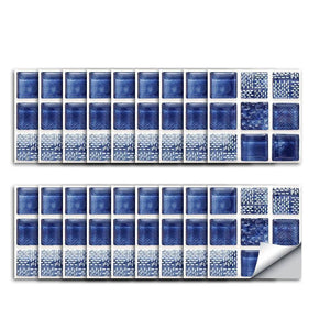 Mosaic Glass Blue Styled Peel & Stick Tile