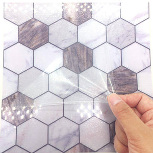 Octagon White & Marble Styled Peel & Stick Tile
