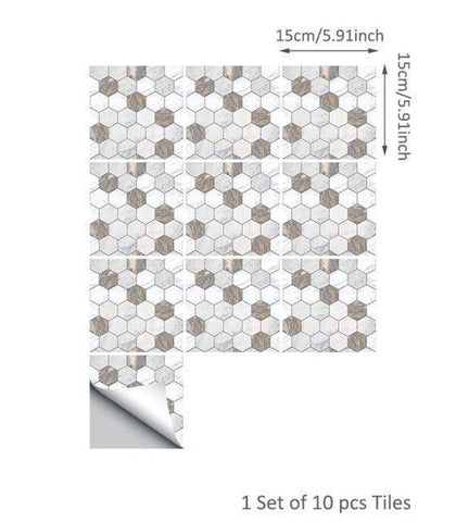 Image of Octagon White & Marble Styled Peel & Stick Tile