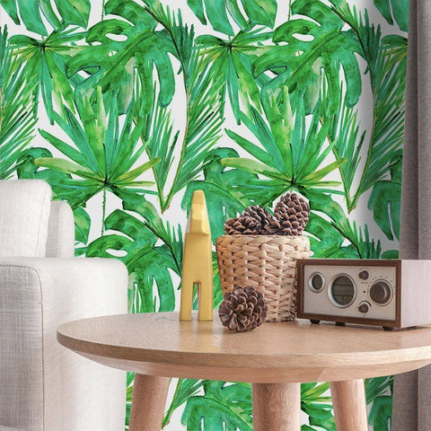 Palm Leafy Styled Peel & Stick Wallpaper