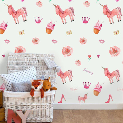 Pink Unicorn Styled Peel & Stick Wallpaper