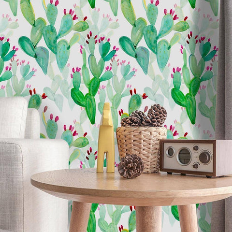 Relaxing Cactus Styled Peel & Stick Wallpaper