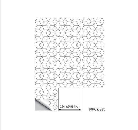 White Diamond Crossed Styled Peel & Stick Tile