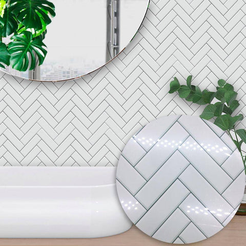 White Rectangle Styled Peel & Stick Tile