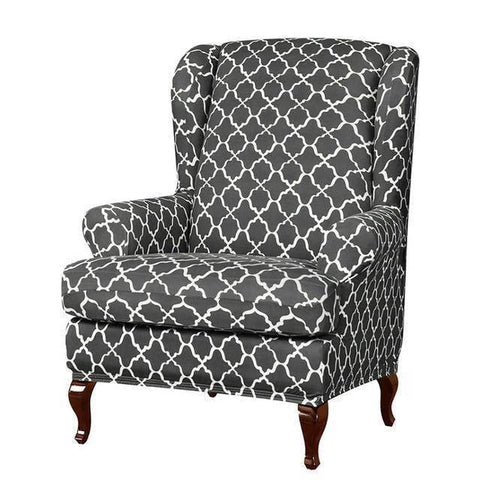 Image of Winged Chair Cover Multi-Colored Pattern Style