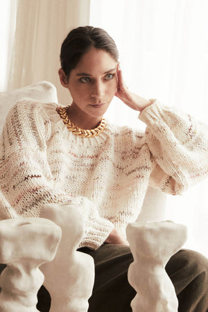 Hand-knit Pullover in Cream