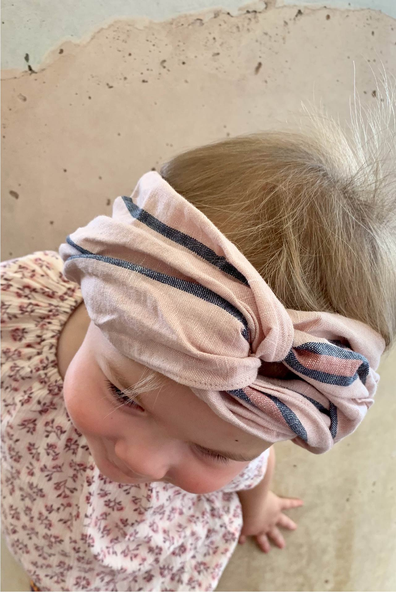 MINI turban headband in Blush Stripe