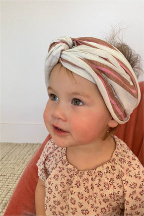 MINI turban headband in Cream Stripe
