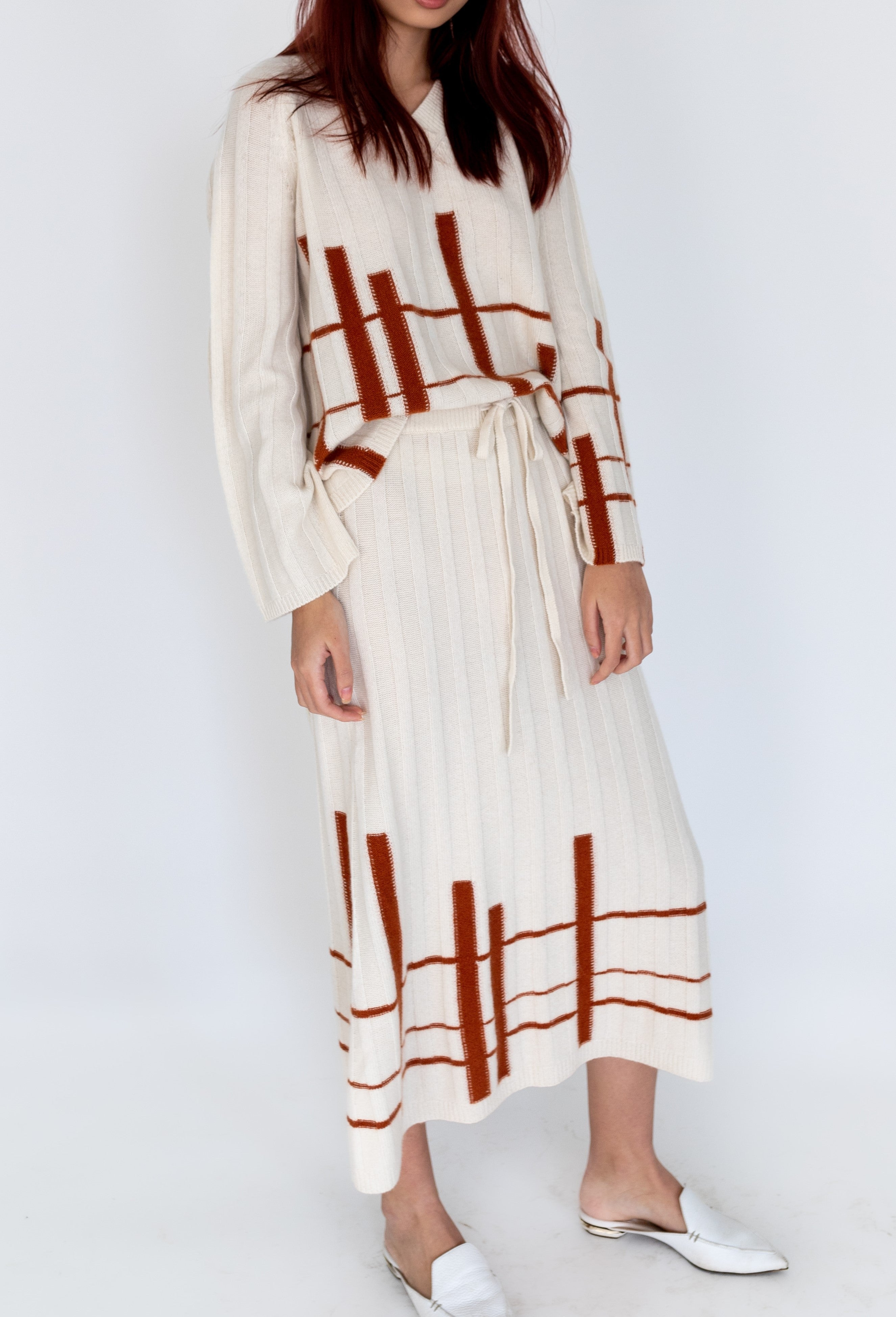 CASHMERE DRESS WITH STRIPES PATTERN