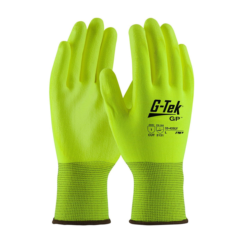 A pair of neon G-Tek Hi-Vis seamless knit polyester gloves