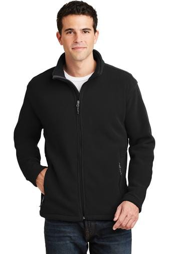A front view of a man wearing Port Authority Value black fleece jacket