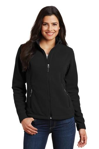 A front view of a woman wearing ladies Port Authority Value black fleece jacket