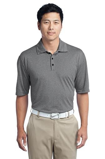 A front view of a man wearing black heather Nike men's dri-fit polo shirt