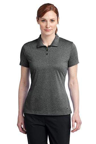 A front view of a woman wearing black heather Nike ladies dri-fit polo shirt