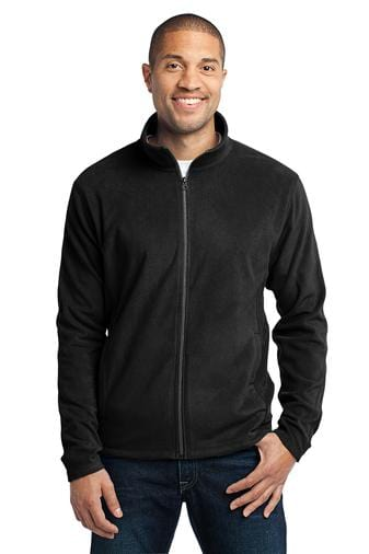 A front view of a man wearing Port Authority men's black microfleece jacket