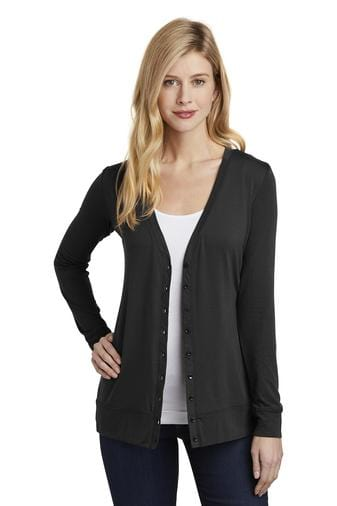 A front view of a woman wearing ladies Port Authority Concept black cardigan