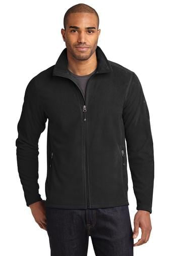 A front view of a man wearing black Eddie Bauer full zip microfleece jacket