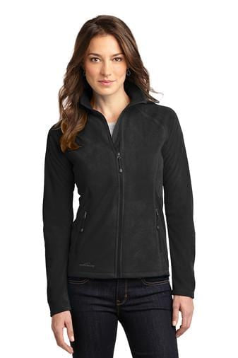 A front view of a woman wearing black Eddie Bauer ladies full-zip microfleece jacket