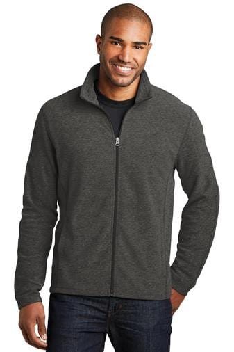 A front view of a man wearing black charcoal heather Port Authority microfleece full-zip jacket