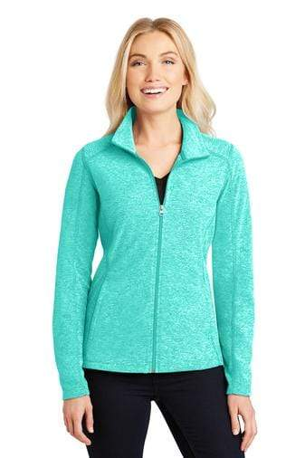 A front view of a woman wearing ladies Port Authority aqua green heather microfleece full-zip jacket