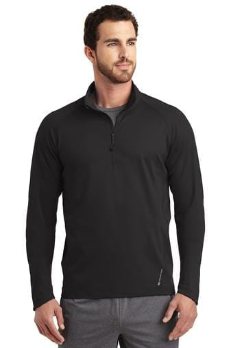 A front view of a man wearing blacktop Ogio men's Endurance Radius 1/4 zip jacket
