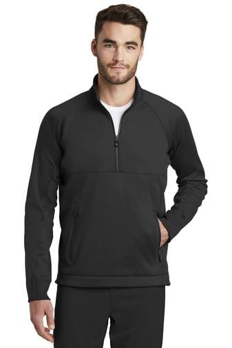 A front view of a man wearing black New Era men's venue fleece 1/4 zip pullover jacket