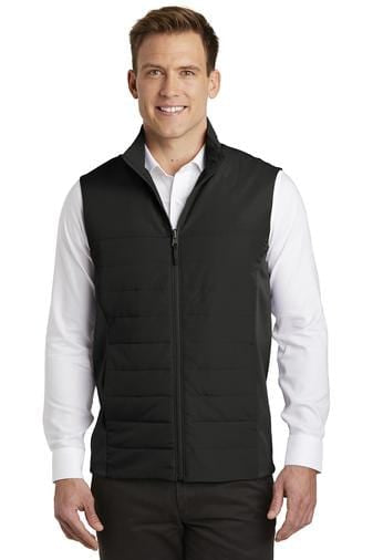 A front view of a man wearing deep black Port Authority Collective men's insulated vest