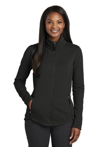 A front view of a woman wearing ladies Port Authority Collective deep black smooth fleece jacket