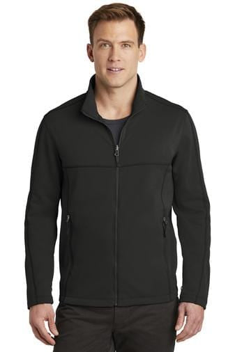 A front view of a man wearing deep black Port Authority Collective men's smooth fleece jacket