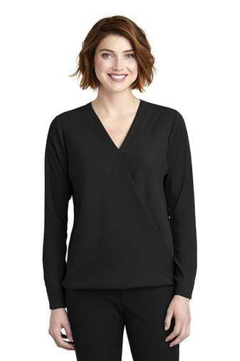 A front view of a woman wearing ladies Port Authority black wrap blouse