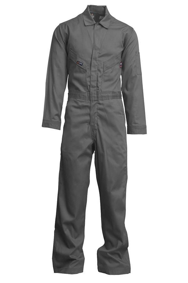 A front view of Lapco men's fire resistant grey deluxe coveralls