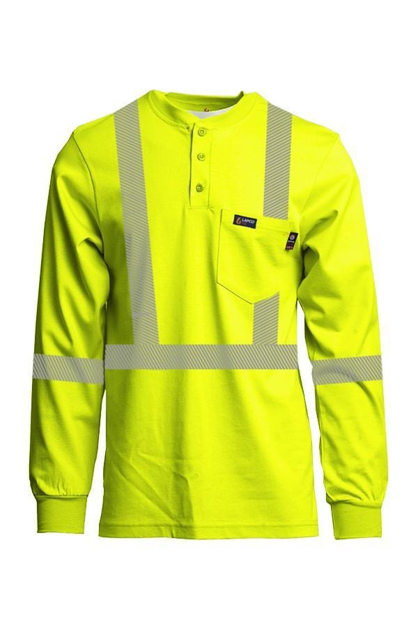 Hi-Viz FR Henley Shirts | 7oz. Inherent Blend | Class 2 - www.lapco.com